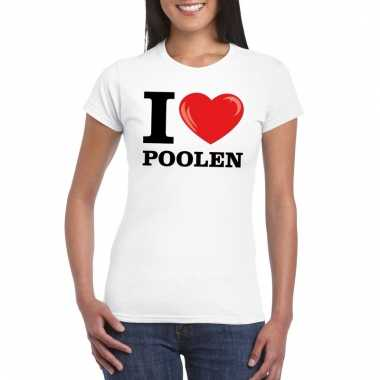 Goedkope i love poolen t shirt wit dames