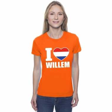 Goedkope i love willem shirt oranje dames