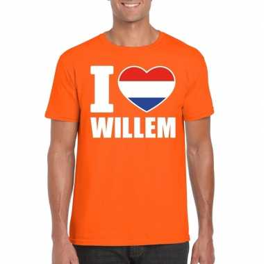 Goedkope i love willem shirt oranje heren
