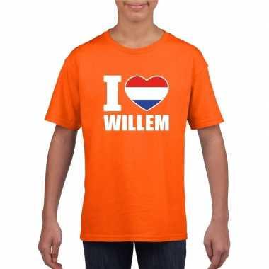 Goedkope i love willem shirt oranje kinderen