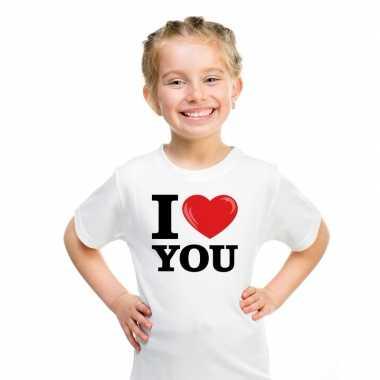 Goedkope i love you t shirt wit jongens en meisjes