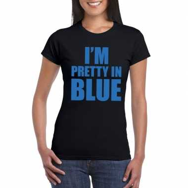 Goedkope i'm pretty in blue t shirt zwart dames