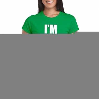 Goedkope i'm pretty in green t shirt groen dames