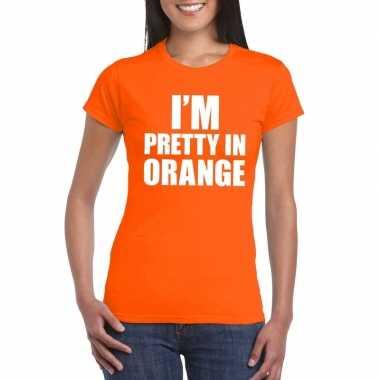 Goedkope i'm pretty in orange t shirt oranje dames