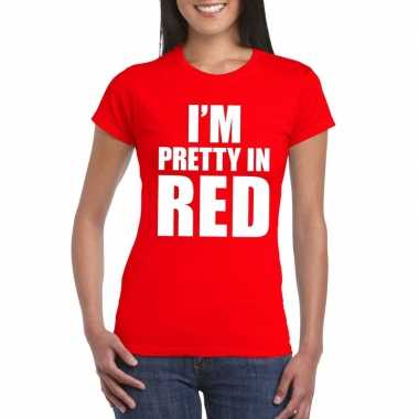 Goedkope i'm pretty in red t shirt rood dames