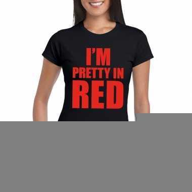 Goedkope i'm pretty in red t shirt zwart dames