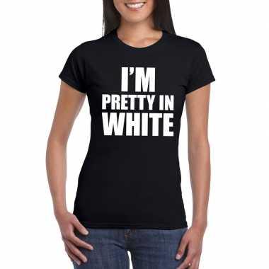 Goedkope i'm pretty in white t shirt zwart dames