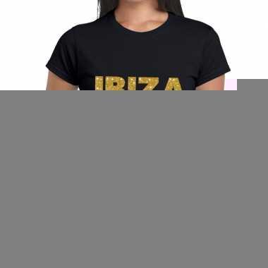 Goedkope ibiza gouden letters fun t shirt zwart voor dames