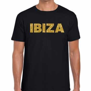 Goedkope ibiza gouden letters fun t shirt zwart voor heren