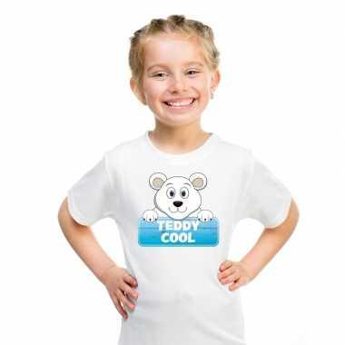 Goedkope ijsbeer dieren t shirt wit voor kinderen
