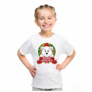 Goedkope ijsbeer kerstmis shirt wit voor jongens en meisjes