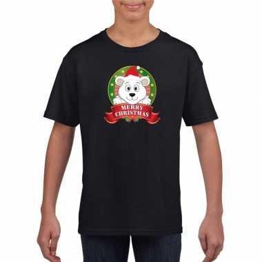 Goedkope ijsbeer kerstmis shirt zwart voor jongens en meisjes