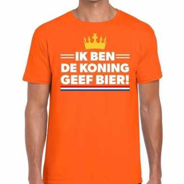 Goedkope ik ben de koning geef bier t shirt oranje heren