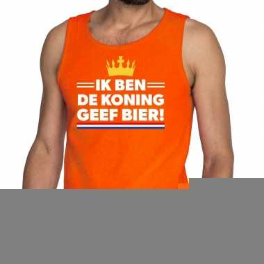 Goedkope ik ben de koning geef bier tanktop / mouwloos shirt oranje h