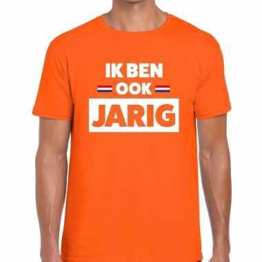 Goedkope ik ben ook jarig t shirt oranje heren