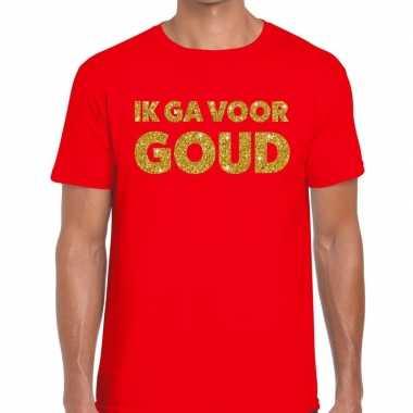 Goedkope ik ga voor goud fun t shirt rood voor heren