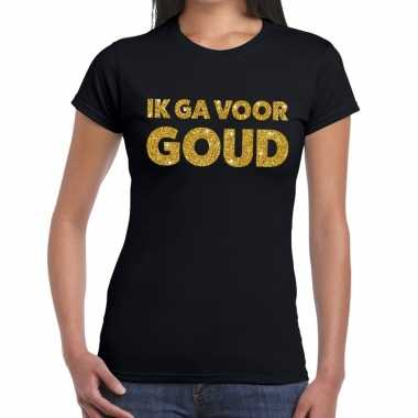 Goedkope ik ga voor goud fun t shirt zwart voor dames