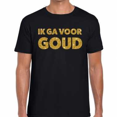 Goedkope ik ga voor goud fun t shirt zwart voor heren
