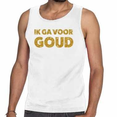 Goedkope ik ga voor goud fun tanktop / mouwloos shirt wit voor heren