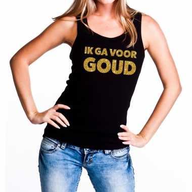 Goedkope ik ga voor goud fun tanktop / mouwloos shirt zwart voor dame