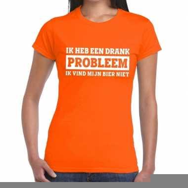 Goedkope ik heb een drankprobleem t shirt oranje dames