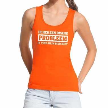 Goedkope ik heb een drankprobleem tanktop / mouwloos shirt oranje dam