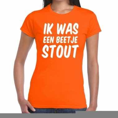 Goedkope ik was een beetje stout t shirt oranje dames