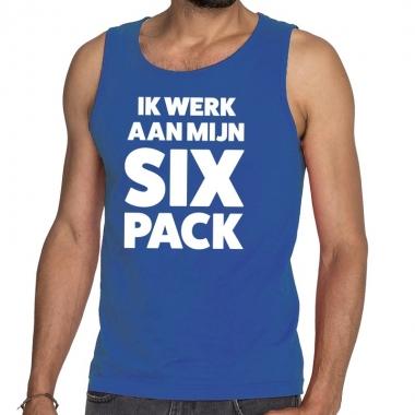 Goedkope ik werk aan mijn six pack fun tanktop / mouwloos shirt blauw