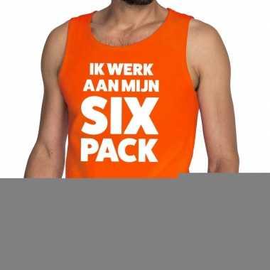Goedkope ik werk aan mijn six pack fun tanktop / mouwloos shirt oranj