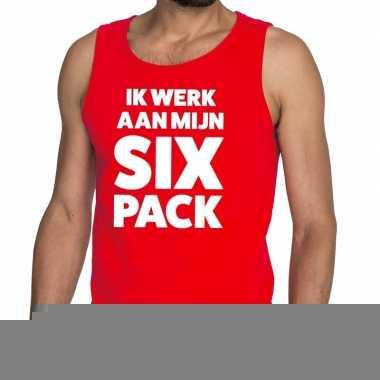 Goedkope ik werk aan mijn six pack fun tanktop / mouwloos shirt rood