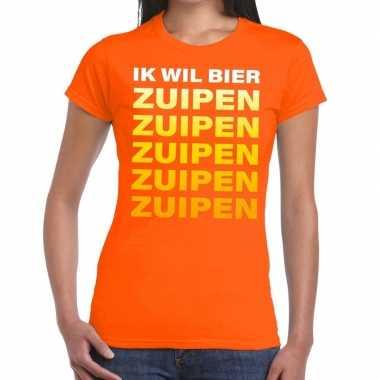 Goedkope ik wil bier zuipen fun t shirt oranje voor dames