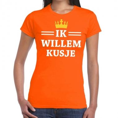 Goedkope ik willem kusje mouwloos shirt oranje dames