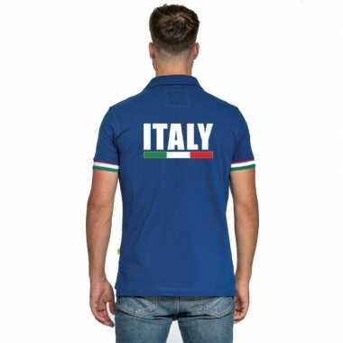 Goedkope italie supporter poloshirt blauw heren
