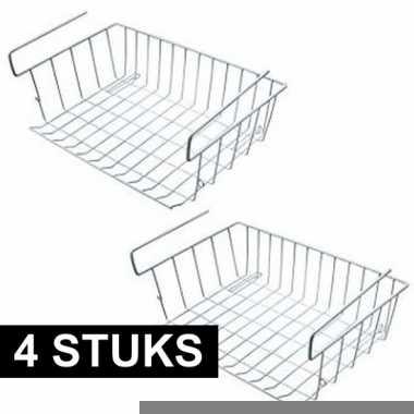 Goedkope kast opberg/opruim sokkenmandje wit 42 x 27 cm