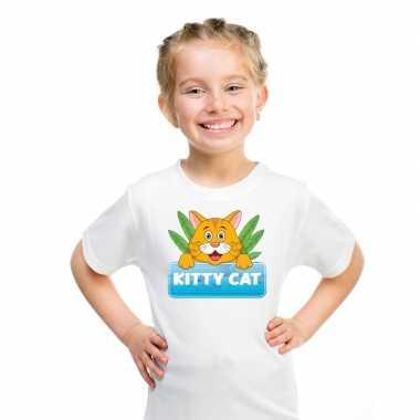 Goedkope katten dieren t shirt wit voor kinderen