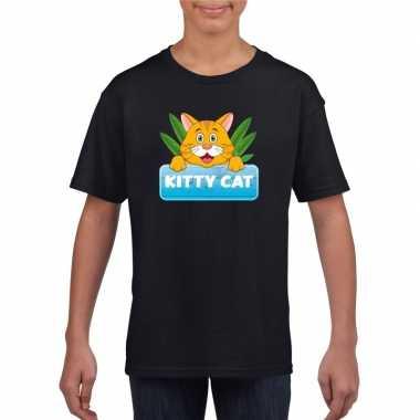 Goedkope katten dieren t shirt zwart voor kinderen