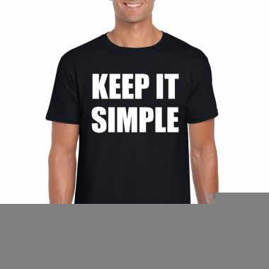 Goedkope keep it simple fun t shirt zwart voor heren