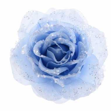 Goedkope kerstdecoratie roos ijsblauw op clip