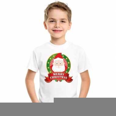 Goedkope kerstman kerstmis shirt wit voor jongens en meisjes