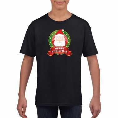Goedkope kerstman kerstmis shirt zwart voor jongens en meisjes