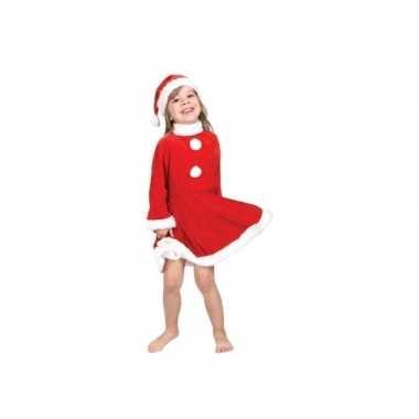 Goedkope kerstmeisje kostuum met kerstmuts
