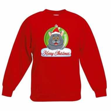 Goedkope kersttrui grijze kat / poes kerstbal zwart voor jongens en m
