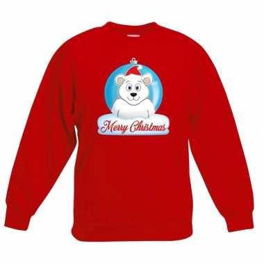 Goedkope kersttrui ijsbeer kerstbal rood voor jongens en meisjes