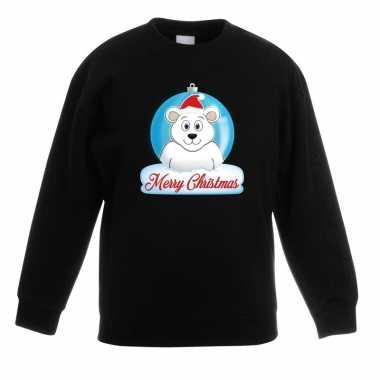 Goedkope kersttrui ijsbeer kerstbal zwart voor jongens en meisjes