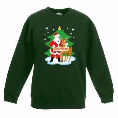 Goedkope kersttrui kerstman en rendier voor kerstboom groen voor jong