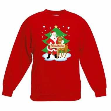 Goedkope kersttrui kerstman en rendier voor kerstboom rood voor jonge