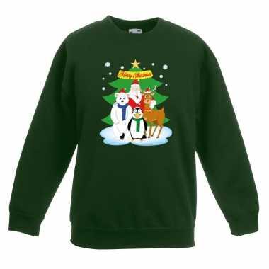 Goedkope kersttrui kerstman en vrienden voor kerstboom groen voor jon