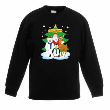 Goedkope kersttrui kerstman en vrienden voor kerstboom zwart voor jon