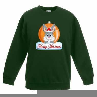 Goedkope kersttrui konijn kerstbal groen voor jongens en meisjes