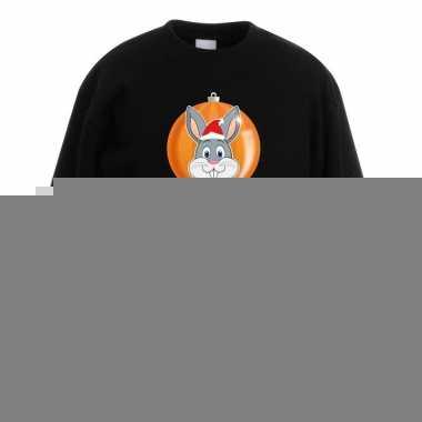 Goedkope kersttrui konijn kerstbal zwart voor jongens en meisjes